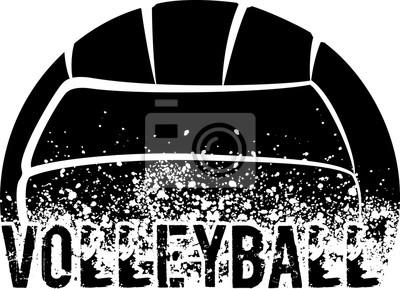 Sticker Volley-ball noir Grunge