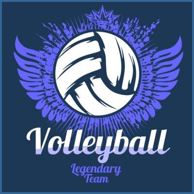 Sticker Volleyball, championnat, logo, balle, -, vecteur, Illustration.