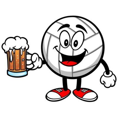Sticker Volleyball Mascot à la bière