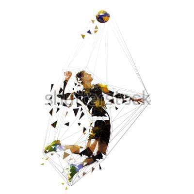 Sticker Volleyball player serving ball, polygonal vector illustration