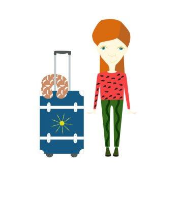 Voyage, fille, bagage