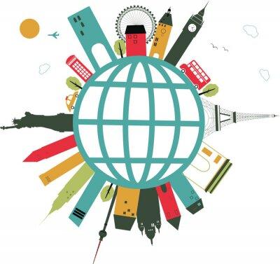 Sticker voyager globe sur fond blanc