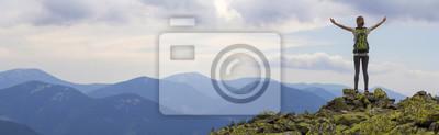 Sticker Vue arrière de la jeune fille touristique de backpacker mince avec les bras levés, debout sur le sommet rocheux contre le ciel bleu clair du matin appréciant le panorama de la chaîne de montagnes brum