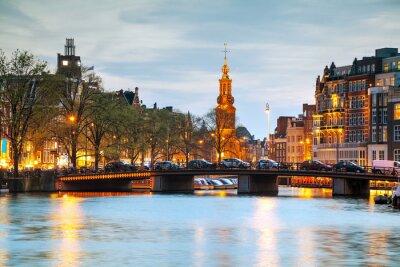 Sticker Vue d'ensemble de Amsterdam avec Munttoren