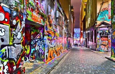 Sticker Vue d'œuvres d'art graffitis colorés au Hosier Lane à Melbourne