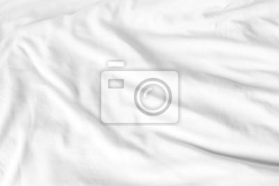 Sticker Vue de dessus des draps blancs après le réveil le matin