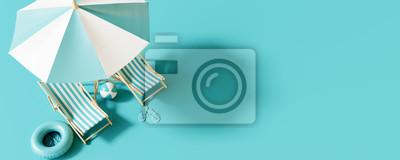 Sticker Vue de dessus Parasol avec chaises et accessoires de plage sur fond bleu. concept de vacances d'été. Rendu 3d