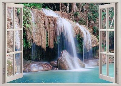 Sticker Vue de fenêtre ouverte à Erawan Falls, Thaïlande