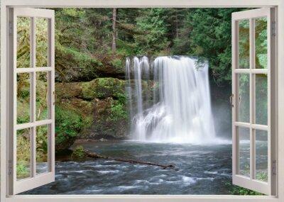 Sticker Vue de la fenêtre ouverte à la Haute Notrh Falls et rivière