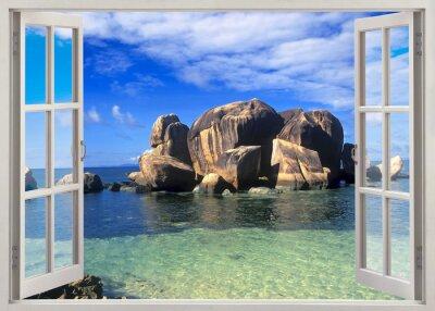 Sticker Vue de la fenêtre ouverte sur le rivage des Seychelles