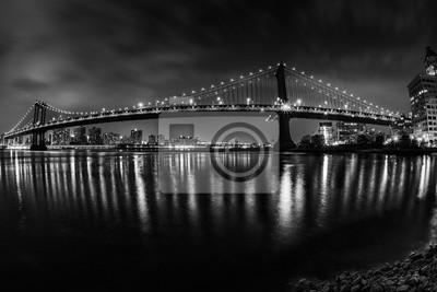 Vue de New York Manhattan Bridge Nuit de Brooklyn dans le b & w