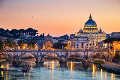 Sticker Vue de nuit de la Basilique Saint-Pierre à Rome, Italie
