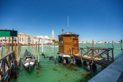 Sticker Vue, gondole, pendant, monter, par, canaux, Venise, i