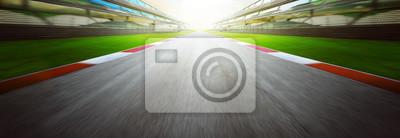 Sticker Vue, infini, vide, asphalte, international, course, piste, mouvement, flou, fond Soir.