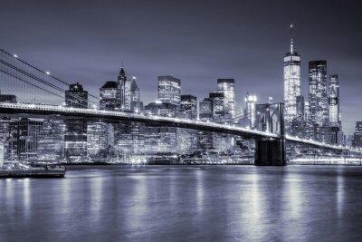 Sticker Vue, Manhattan, Brooklin, pont, nuit, nouveau, York, ville