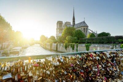 Sticker Vue, Notre, Dame, cathédrale, paris, célèbre, serrures, Amour