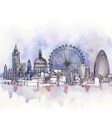 Sticker Vue panoramique, londres, aquarelle, européen, union, pays, isolé, blanc, fond