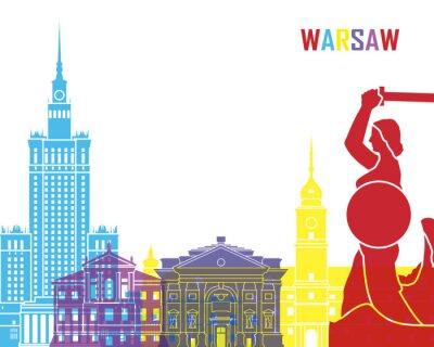 Sticker Warsaw skyline pop