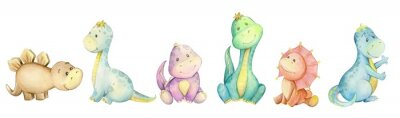 Sticker watercolo,  little dinosaur. isolated set