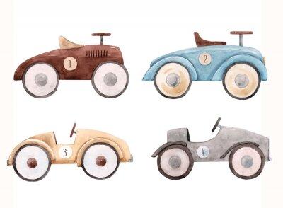 Sticker Watercolor baby car illustration
