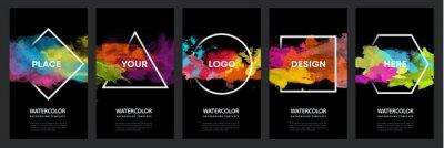 Sticker Watercolor black background over geometric frame vector design headline, logo and sale banner template set