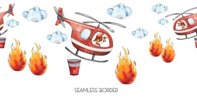 Sticker Watercolor cartoon cute seamless border Firefighting and fire safety equipment illustration. Fire helicopter, dog, helmet, hose, column, fire extinguisher. Baby shower red colorful clip art