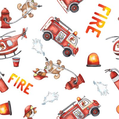 Sticker Watercolor cartoon cute seamless pattern Firefighting and fire safety equipment illustration. Fire truck, helicopter, dog, helmet, hose, column, fire extinguisher. Baby shower red colorful clip art