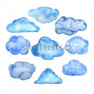 Sticker Watercolor clouds set