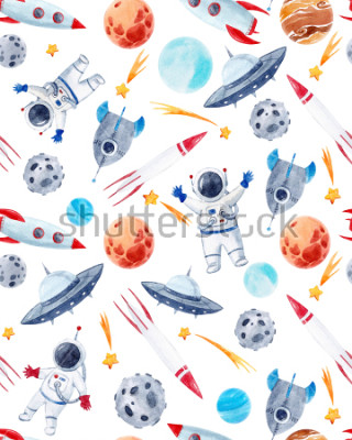 Sticker Watercolor cutepattern  space illustrations , the man in the spacesuit of an astronaut, rocket, shooting star, flying saucer
