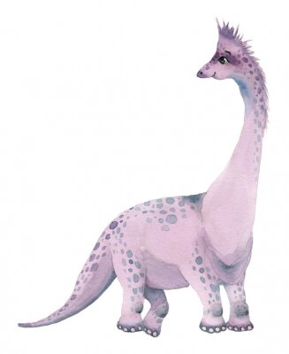Sticker Watercolor dinosaurs brontosaurus