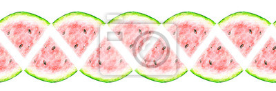 Watercolor drawing of a slice of a watermelon. Seamless border.