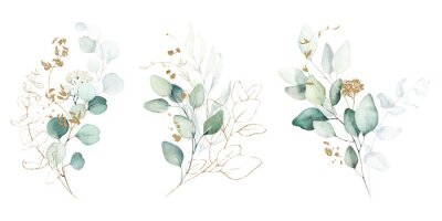 Sticker Watercolor floral illustration set - green & gold leaf branches collection, for wedding stationary, greetings, wallpapers, fashion, background. Eucalyptus, olive, green leaves, etc.