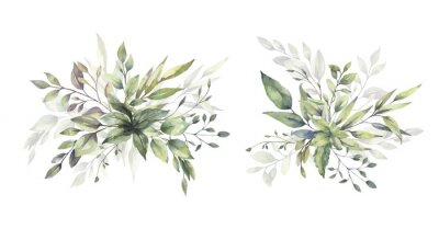 Sticker Watercolor floral illustration set - green leaf branches bouquets collection, for wedding stationary, greetings, wallpapers, fashion, background. Eucalyptus, olive, green leaves, etc. High quality