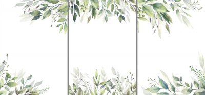 Sticker Watercolor floral illustration set - green leaf Frame collection, for wedding stationary, greetings, wallpapers, fashion, background. Eucalyptus, olive, green leaves, etc. High quality illustration