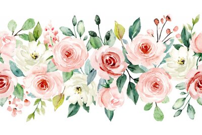 Sticker Watercolor flowers, pink, white roses. Floral summer repeat border for printing invitations, greeting cards, wall art, stickers and other. Isolated on white. Hand painted.