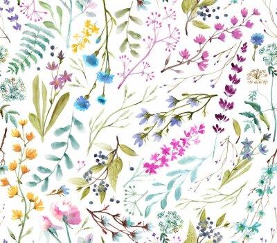 Sticker  Watercolor flowers. Seamless watercolor pattern.