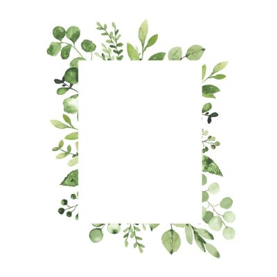Sticker Watercolor geometrical frame with greenery leaves branch twig plant herb flora isolated on white background. Botanical spring summer leaf decorative illustration for wedding invitation card