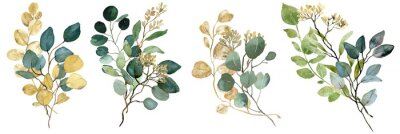 Sticker Watercolor green and gold seeded Eucalyptus bouquets. Spring greenery. Wedding floral illustration.