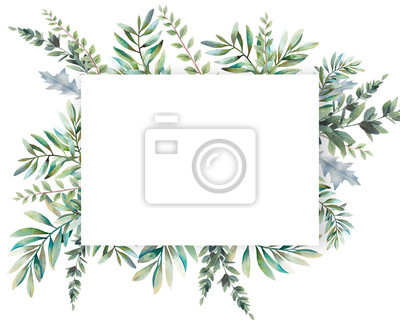 Sticker Watercolor greenery card design. Hand painted floral template: plants frame on white background.
