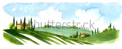 Sticker Watercolor illustration of small village in Europe. Alpine landscape