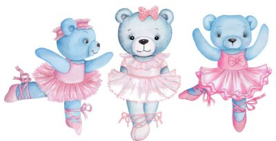 Sticker Watercolor illustration of three dancing teddy bears in pink ballet dresses.