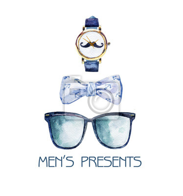 Watercolor illustration with bow tie, glasses and watches. Set of stylish gifts for men.