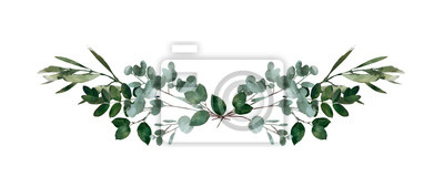 Sticker Watercolor modern decorative element.  Eucalyptus round Green leaf Wreath, greenery branches, garland, border, frame, elegant watercolor isolated, good for wedding invitation, card or print