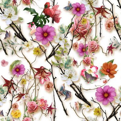 Sticker Watercolor painting of leaf and flowers, seamless pattern on white background
