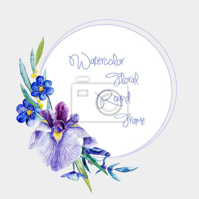 Watercolor round frame of blue irises and other flowers.