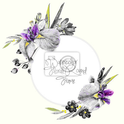 Watercolor round frame of irises and other flowers.