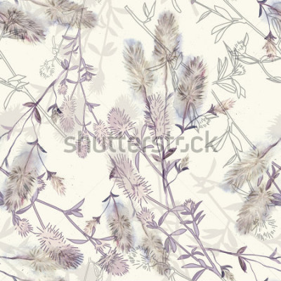 Sticker Watercolor seamless pattern with rabbitfoot clover flowers