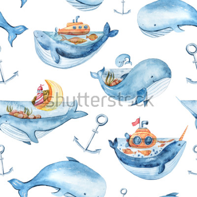 Sticker Watercolor seamless pattern with sea life. Wallpaper, textile pattern for kids.