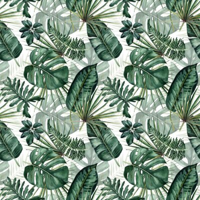 Sticker Watercolor seamless pattern with tropical leaves: palms, monstera, passion fruit.