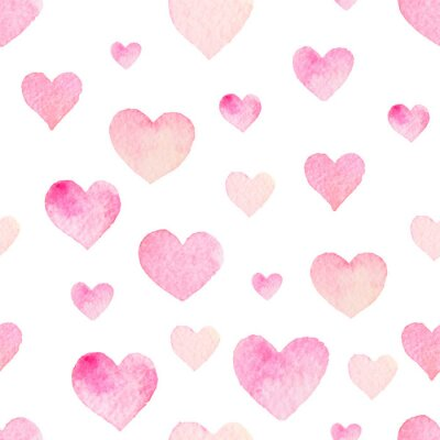 Sticker Watercolor seamless vector pattern with hearts for Valentine Day